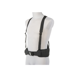 Molle tactical waist belt w/ suspenders, black