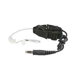 Throat microphone, clear earpiece