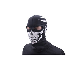 Thermoactive balaclava with skull, 2 holes, black, size L/XL