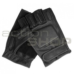 Mil-Tec SEC Leather Half Finger Gloves, black
