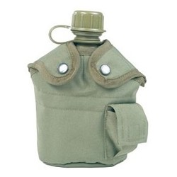 US polymer water canteen pouch with cup and cover, olive