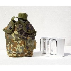 US polymer water canteen pouch with cup and cover, flecktarn