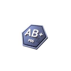 Bloodtype AB Pos Hexagon Patch, 3D