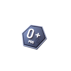 Bloodtype 0 Pos Hexagon Patch, 3D